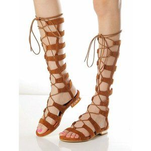Choies Suede Knee High Lace-Up Flat Gladiator